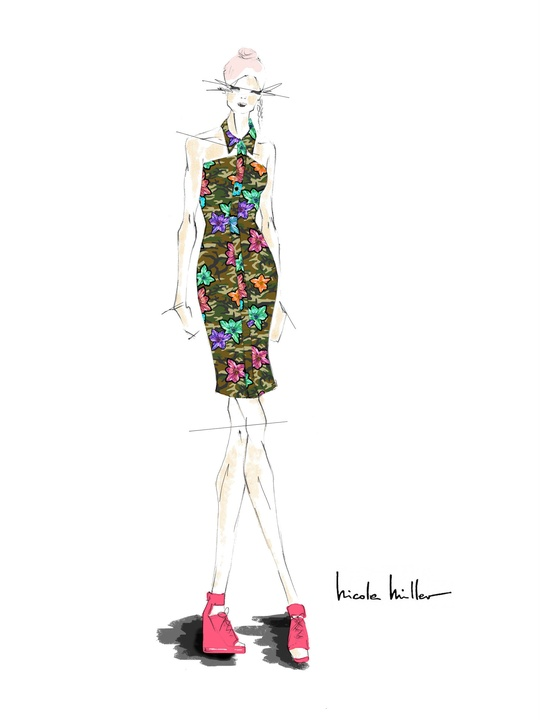 Nicole Miller inspiration sketch New York Fashion Week spring 2015