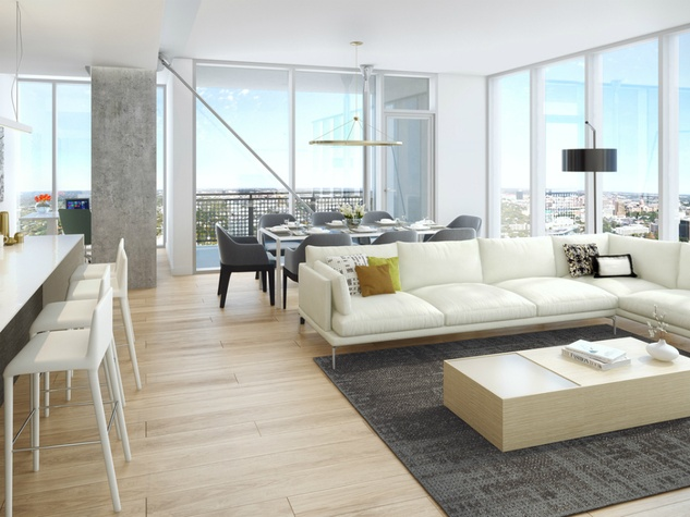The Independent_downtown Austin condo_interior rendering_living dining room kitchen 2_2015