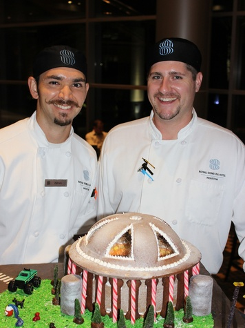 5 Patrick Escobar, left, and Seth Couter at the Lucky Dog Gingerbread Doghouse event December 2013