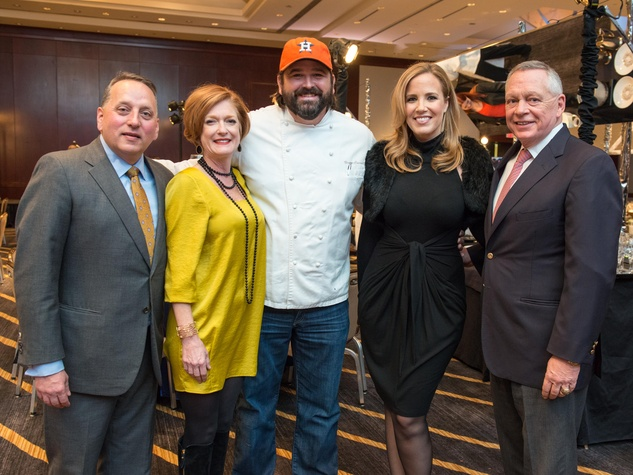 1 Rob and Sabrina Hallett, from left, Bryan Caswell, Kristen Barley and Richard Flowers at the Bon Vivant dinner January 2015