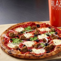Blaze pizza with drink