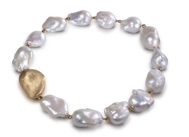 Yvel Pearl and Gold Bean Necklace