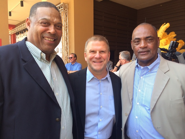 Robert Brazile, Tilman Fertitta, Vernon Perry at Golden Nugget opening May 2014