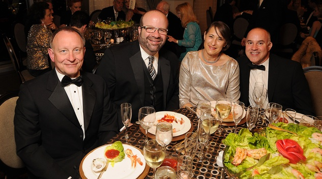 16 Randall Walker, from left, Rusty Bienvenue and Sylvia and Brian Malarkey at the Petroleum Club of Houston Grand Opening Celebration February 2015