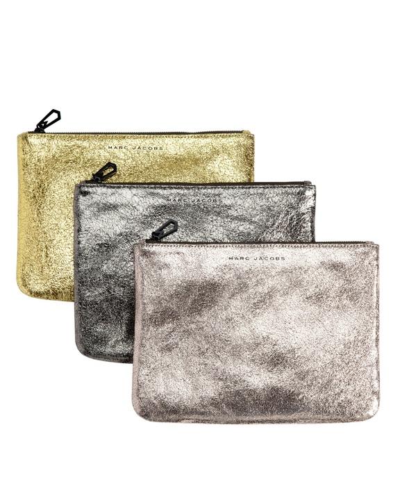 Marc Jacobs metallic zip clutch bag from Neiman Marcus + Target collection