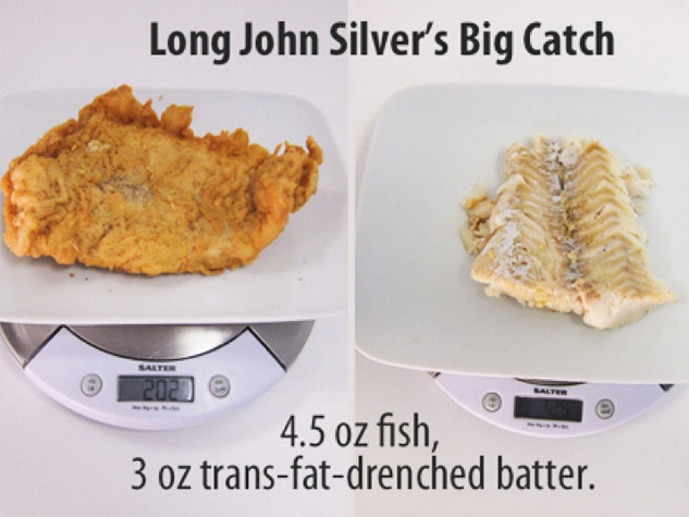 Long John Silver's Big Catch fish compared to batter