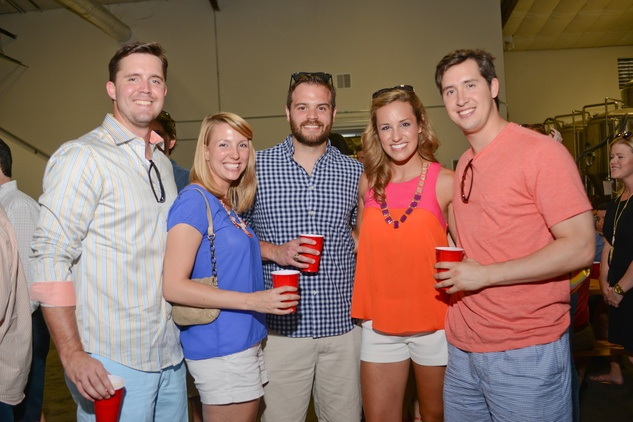 7. Miles Morgan, from left, Melissa Daigneault, Aaron Schneider, Amanda Shook and Luke Fertitta at the Bayou Preservation Association Herons party June 2014