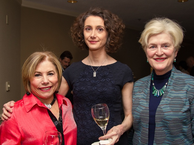 0273 Bobbie Newman, from left, Lucile Agaisse and Deirdre Spann at Houston Friends of Chamber Music Red Violin event March 2014