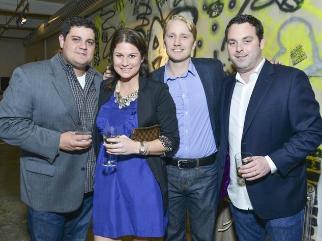 109 Dan Long, from left, Jenna Goetz, Tim Sunderland and Rich Bruskoff at the Children's Assessment Center Art Party November 2013