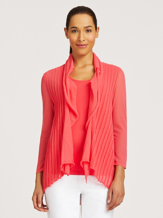 office summer sweaters LaFayette 148 New York chantilly cotton draped collar cardigan 348 in geranium