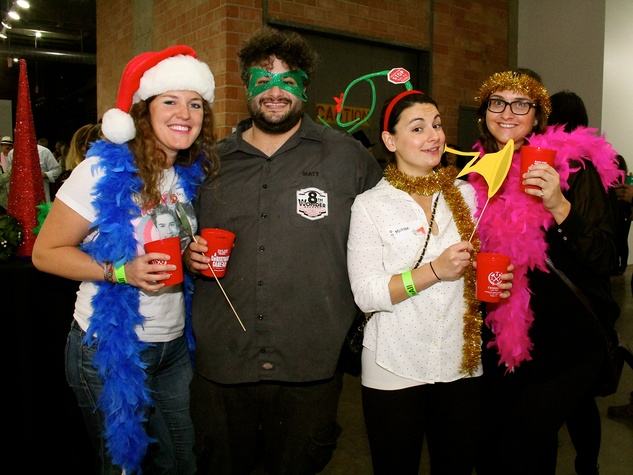 4 Eby Harvey, from left, Matt Marcus, Michole Lazzara and Brooke Jones at the Black Sheep Agency Care-All Christmas party December 2013