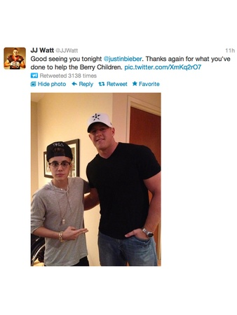 Justin Bieber, J.J. Watt, tweet, October 2012