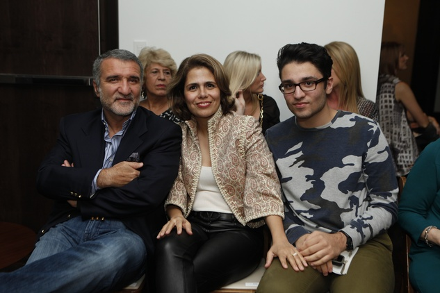 Iraj and Fariba Taghi, from left, with Amir Taghi at the David Peck runway show September 2014