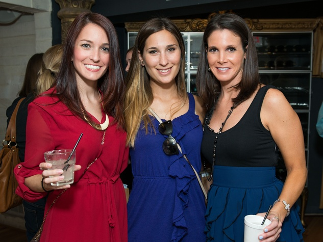 16 Elizabeth Gunter, from left, Carolyn Roberts and Corey Mannie at the CultureMap Summer Social July 2014