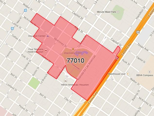 Houston ZIP code 77010