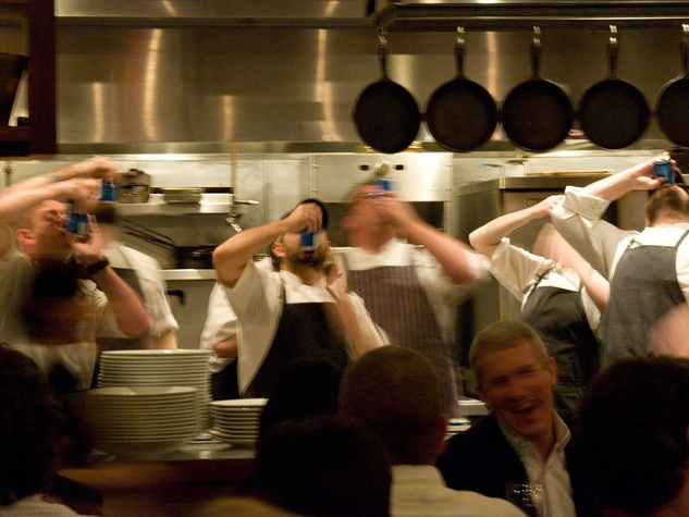 4 John Besh dinner at Underbelly November 2013 chefs shotgunning beer