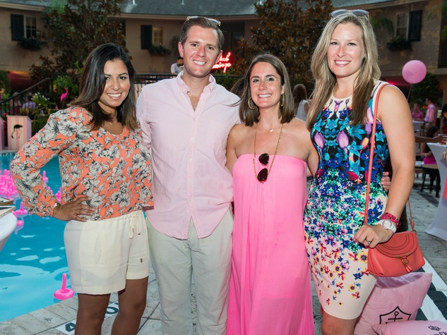 12 Mishelle Echaverria, from left, Kyle Weber, Jenny Weber and Bethany Buchanan at the Pink Party at Hotel ZaZa July 2014