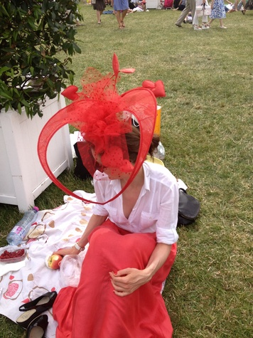 "Janine Iannarelli postcards from Paris July 2013 ""creation in red"" hat photo by Janine Iannarelli at the Prix de Diane"