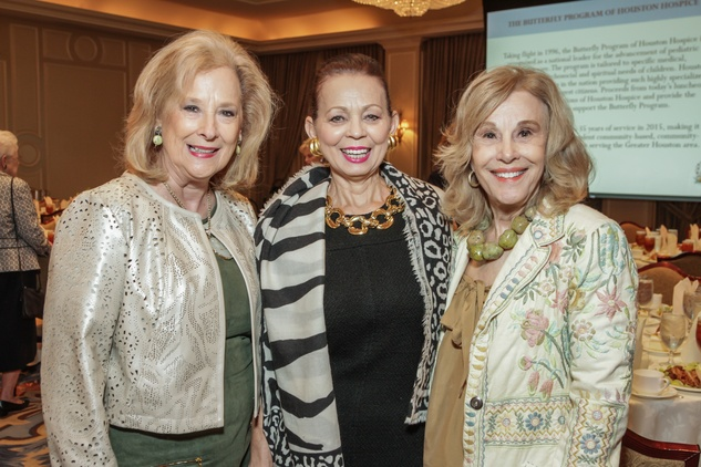 Mary Ann McKeithan, from left, Danielle Ellis and Geri Noel at the Houston Hospice butterfly luncheon April 2015