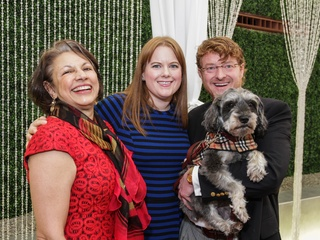 Fatima Mawji, from left, Lauren Santerre and Bret Baccus with Rocco at the Best Friends Brunch February 2014