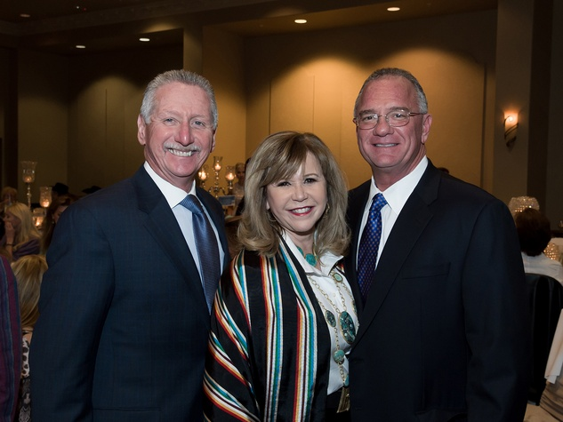 10 Thomas Roberts and Cyndy Garza Roberts, left, with Yance Montalbano at the Rodeo Trailblazer Awards Luncheon February 2015