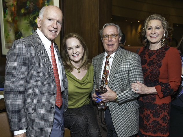 News, Shelby, Dave Ward Party, Dec. 2014, Dr. Barney Barrett, Sandy Barrett, Mike Linn, Carol Linn