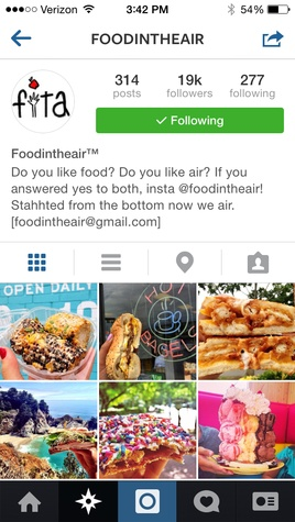 Food in the air Instagram account