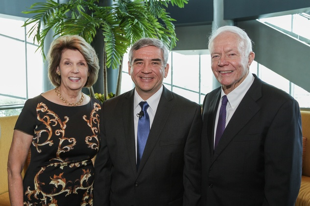 Lilly Kucera Andress, from left, Michael Durant and Thurmon Andress at the Salvation Army annual luncheon November 2014