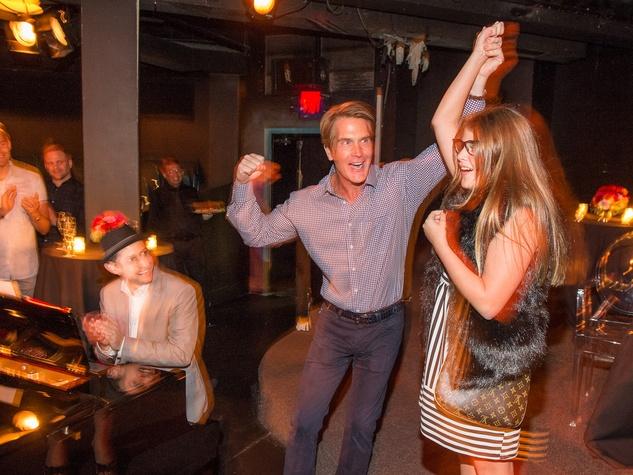 George Lancaster dancing with Gabriela Sanchez at George Lancaster's birthday bash October 2013