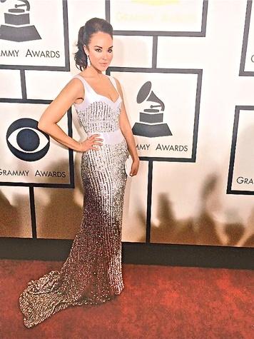 Alexandra Silber wearing Jonathan Blake gown at the Grammy Awards