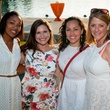 Athelia Merrell, from left, Bethany Hebert, Laura Sirabian and Adrienne Saxe at the Urban Green Birthday en Blanc May 2014