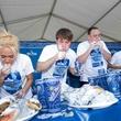 Houston Greek Festival gyro eating contest Niko Niko's in progress May 2013