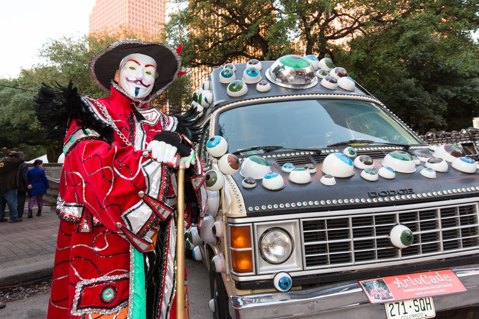 The Earl of ArtoCade, Pat patrick, from Trinidad, Colorado, poses with his EyeVan at the Legendary Art Car Ball
