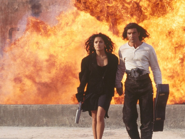 Desperado movie scene with Salma Hayek and Antonio Banderas