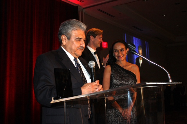Gala Del Museo Arte Y Glamour benefiting the Mexic-Arte Museum. Sam Coronado with his Lifetime Achievement Award presented by Sylvia Orozco