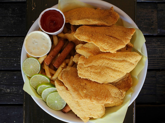 Fried fish at Hook, Line & Sinker restaurant in Dallas