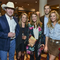 15 Kirby Janke, from left, Elizabeth Gardner, Rainey Janke and Lee and Kristen Nix at the RodeoHouston Wine Auction Dinner March 2014