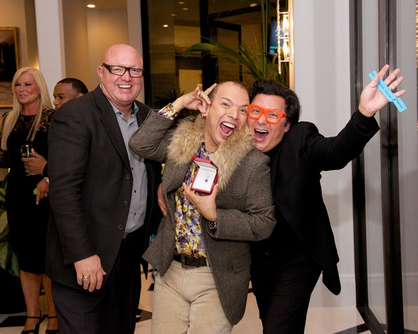 155 David Arpin, from left, Alex Martinez and J. Michael Soliz at Theresa Roemer first charity closet party November 2014
