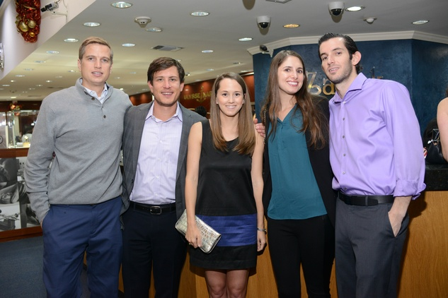 27 234 Ben Leibman, from left, Curtis Emerson, Shannon Stutzman, Sarah Harari and Zach Harari at the Zadok Jewelers Holiday Party December 2014