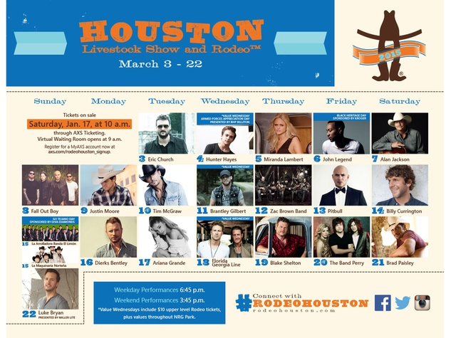 Houston Livestock Show and Rodeo RodeoHouston entertainers January 2015 Star Calendar