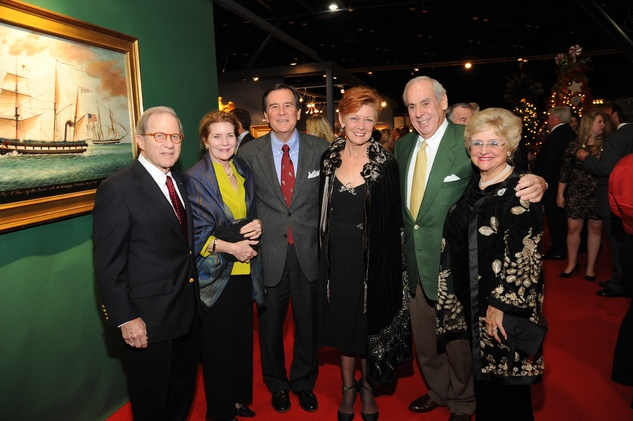 15 9300 Chris Seager, from left, Connie Seager, Jeff and Rebecca Parsons, John Daughtery and Cooky Mays at the Theta Charity Antiques Show Preview Party November 2014
