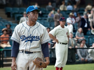 Chadwick Boseman as Jackie Robinson in the movie 42