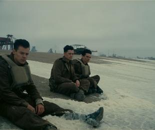 Harry Styles, Aneurin Barnard, and Fionn Whitehead in Dunkirk