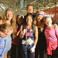 Olympics, Stefan Gustafson, Marlen Esparza, and Schuyler Gustafson, front, with Sloane Gustafson,  Carmen Esparza, Sten Gustafson and Sofia Adrogué, back