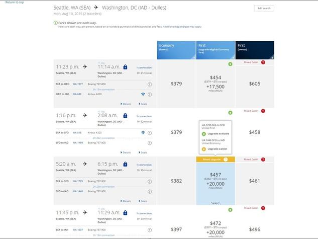 United Airlines beta site upgrades