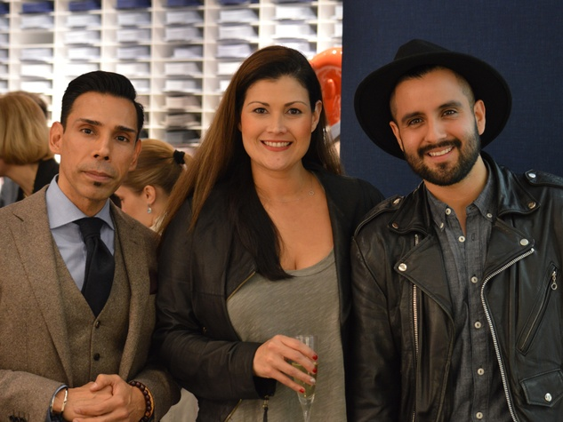 Geno Segura, from left, Kahia Perry and Vico Puentes at the Suitsupply Houston grand opening party December 2013