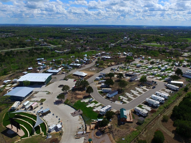 Community First Village homeless development aerial East Austin