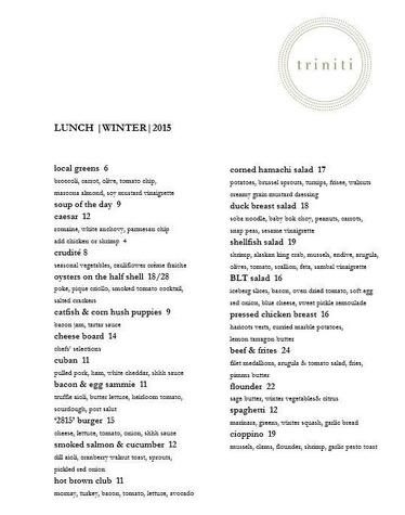 Triniti lunch menu winter 2015