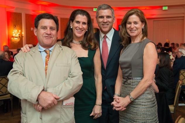 Andrew Hobby, from left, Kate Gibson, Paul Hobby and Laura Beckworth at the Bill Hobby Roast January 2015