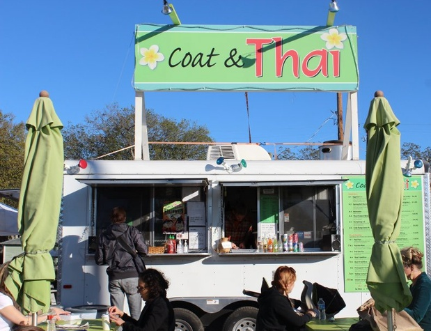 Austin Photo Set: News_Tiffany Harelik_trailer food_south congress_Nov 2011_coat and thai